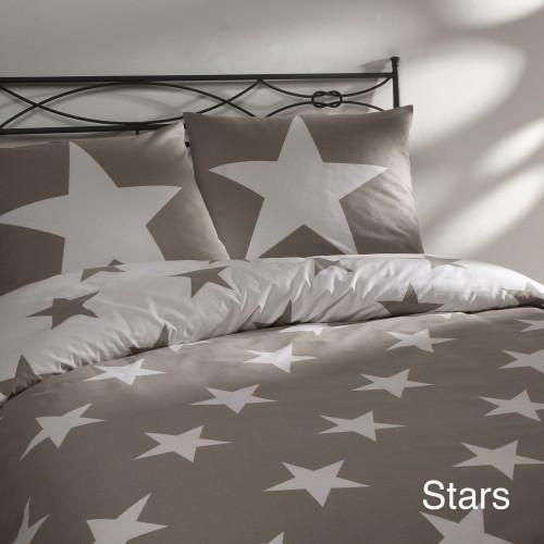 dekbedovertrek stars beige